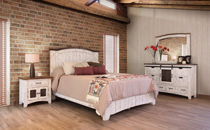 Rustic Dual Tone Bedroom Collection in White or Black