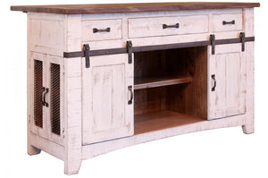 Rustic Dual Tone Island with Sliding Doors in White or Black