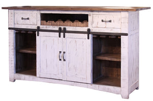 Solid Wood Rustic Dual Tone Bar in White or Black