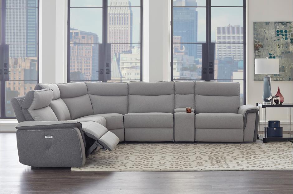 Amara Grey Power Reclining Sectional with Adjustable Headrests