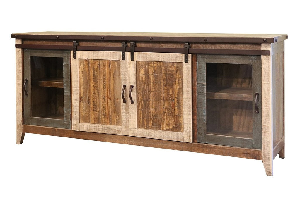 Antique Solid Wood Media Stand with Sliding Barn Doors in 3 Sizes