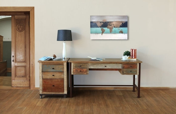 Multi-color Rustic Reclaimed Wood Writing Desk