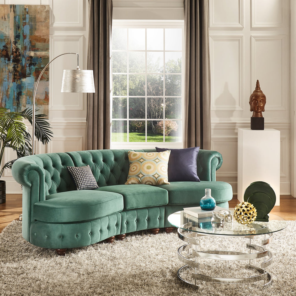 Chesterfield Curved Modular Sofa in Green, Navy or Grey