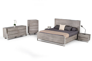 Charmaine Grey & Stainless Steel Bedroom Collection