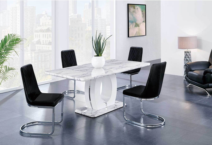 Daisy Faux Marble Dining Room Collection with Black or White Chairs