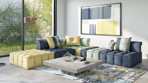 Modern Modular Multicolor Fabric Sectional