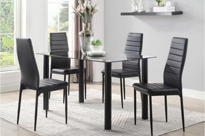 Flores 5 Piece Dinette Set in Black or White
