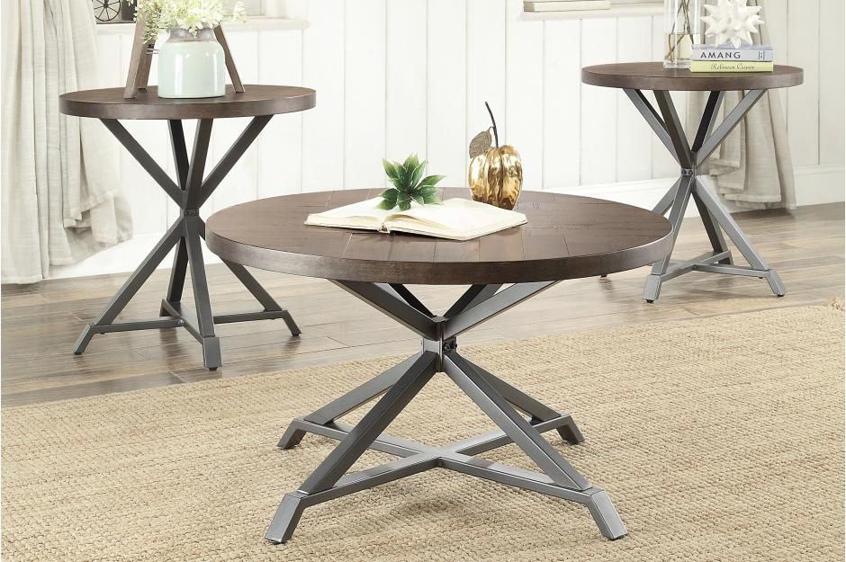 Industrial Round 3 Piece Occasional Tables Set