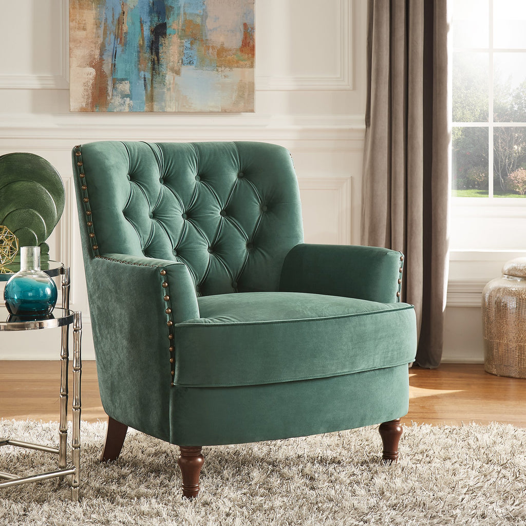 Green Velvet Tufted Accent Chair with Nailheads