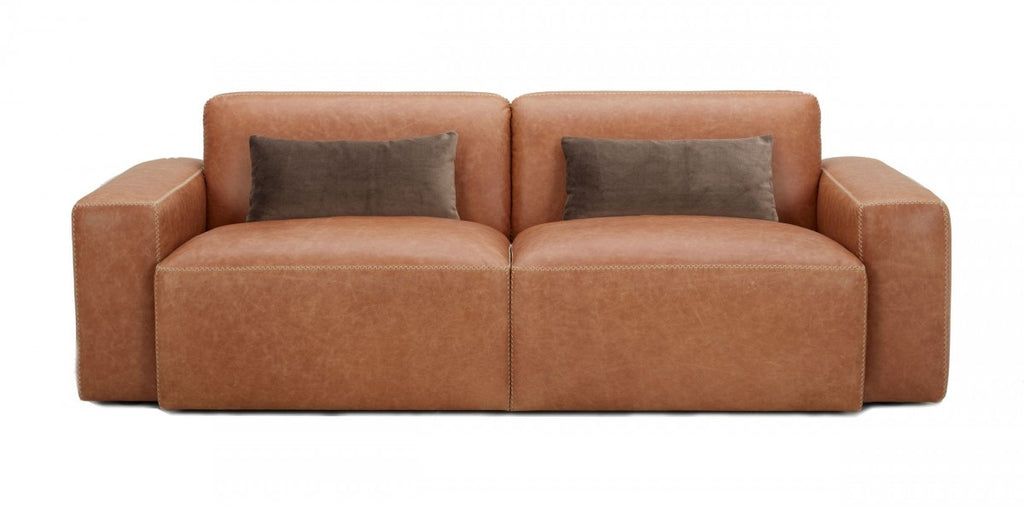 Ellen Brown Leather Sofa with Zig Zag Stitching