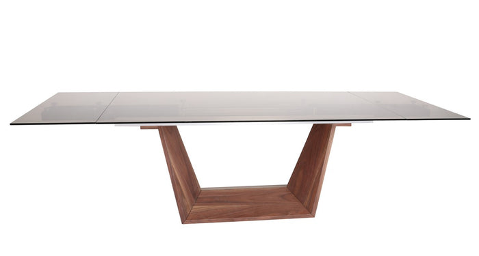 Ballard Modern Smoked Glass Extendable Dining Table with Walnut Base