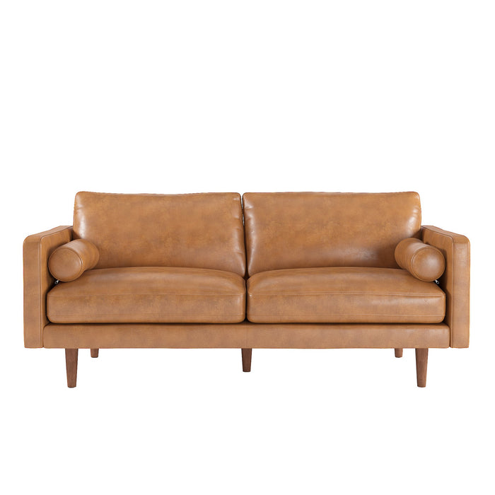 Cylia Mid Century Sofa in Caramel or Black Leatherette