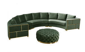 Richie Curved Green Velvet Sectional