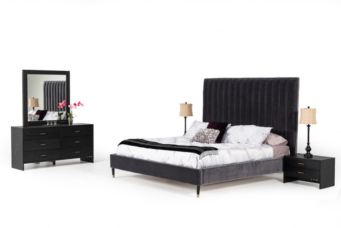 Wallace Modern Grey Velvet Bedroom Collection