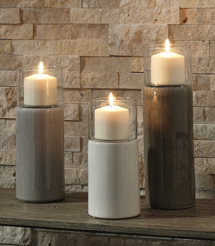 Glazed Ceramic 3 Piece Candle Holder Set