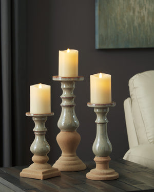 Dual Tone Ceramic 3 Piece Candle Holder Set