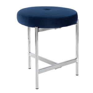Clio Velvet Stool with Chrome Legs in 5 Color Options