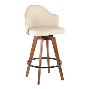 Edwin Mid Century Counter Stool in Cream, Grey or Black