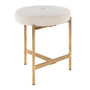 Clio Velvet Stool with Gold Legs in 5 Color Options