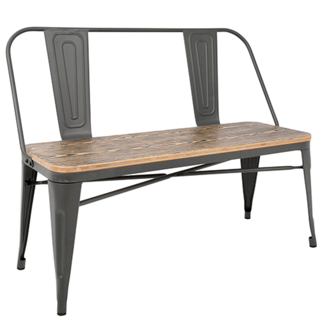 Ore Industrial Bench with Wooden Seat in 3 Color Options