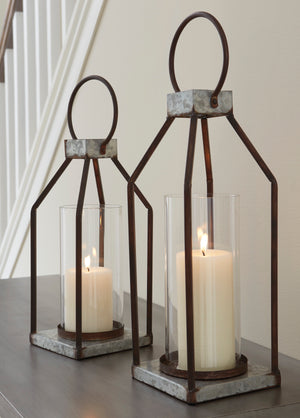 Outdoor Safe 2 Piece Lantern Candle Holder Set