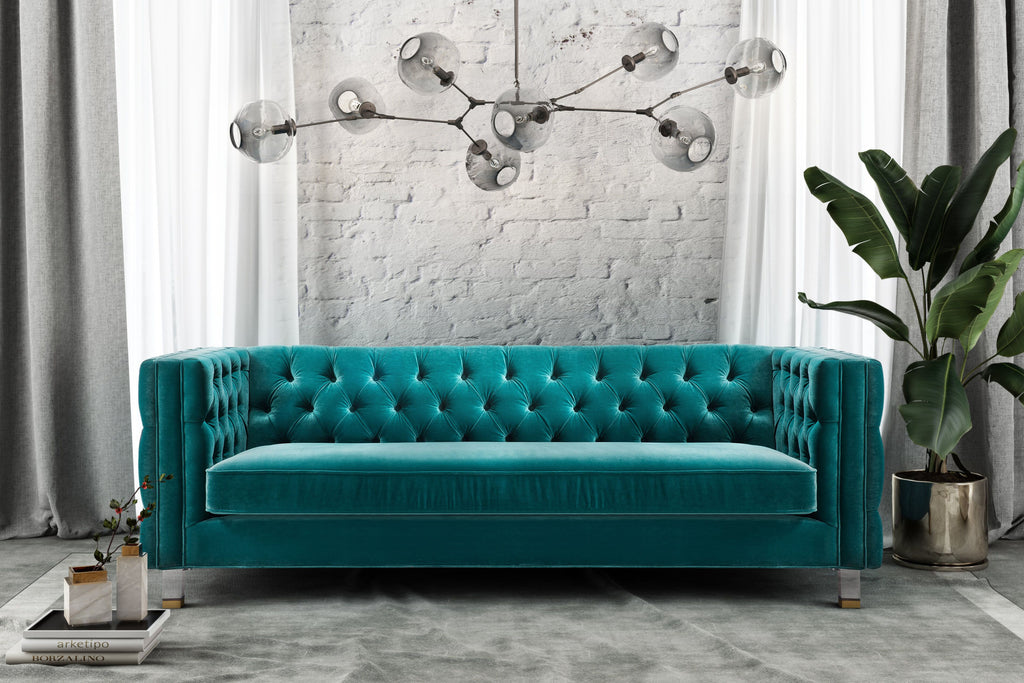 Ren Tufted Velvet Sofa in Green or Grey