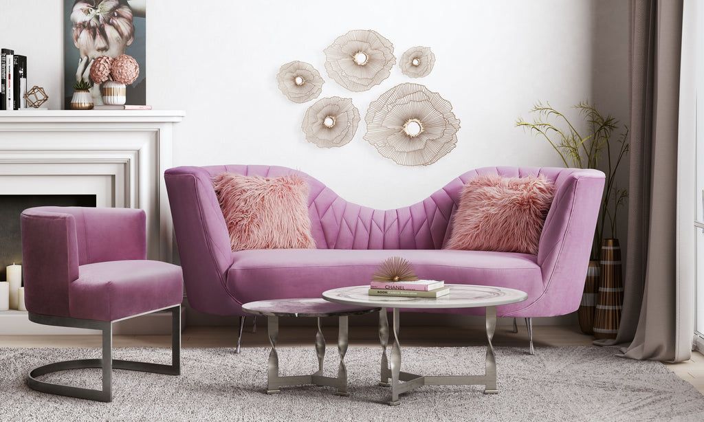 Evan Velvet Living Room Collection in Blush or Grey