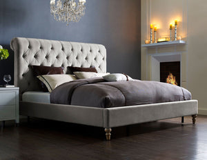Paul Grey Velvet Platform Bed