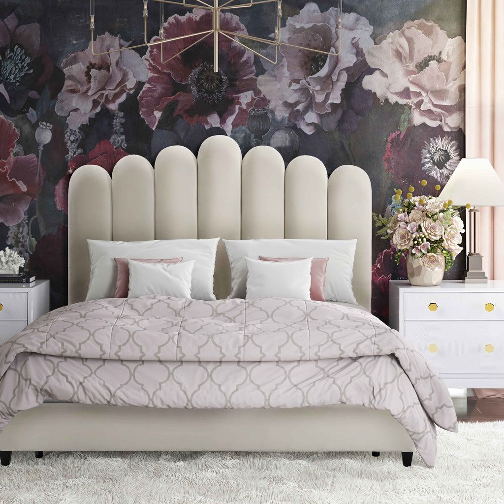 Celeste Channel Tufted Velvet Bed in Cream or Grey