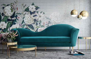 Pluto Velvet Sofa in Aqua or Blush