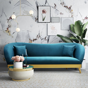 Cleo Velvet Sofa with Gold Base in 3 Color Options
