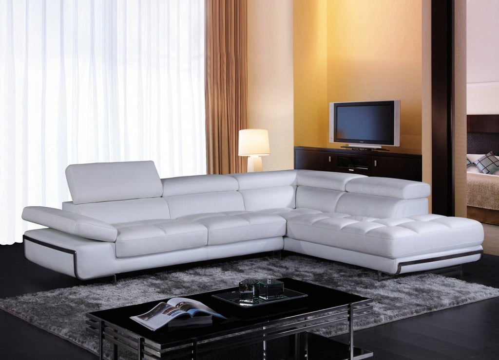 Mystie Modern White Eco Leather Sectional
