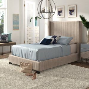 Pleated Wingback Upholstered Bed in Taupe or Grey