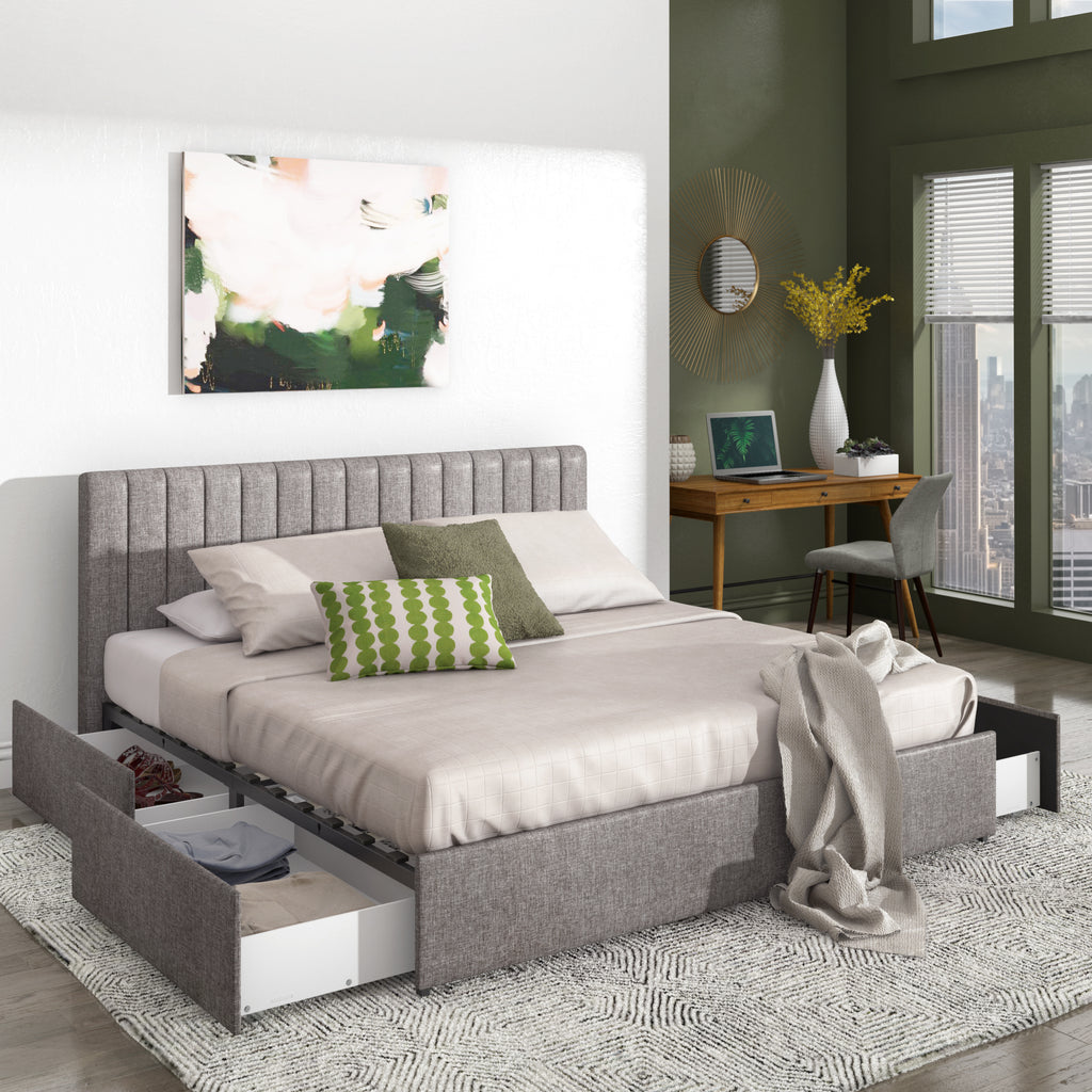 Tammy Grey Linen Storage Platform Bed