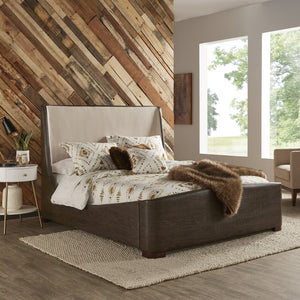 Wood Pattern Leatherette Platform Bed