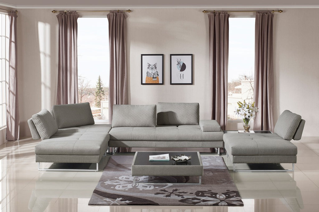 Bailey Modern Fabric Sectional with Coffee Table Set
