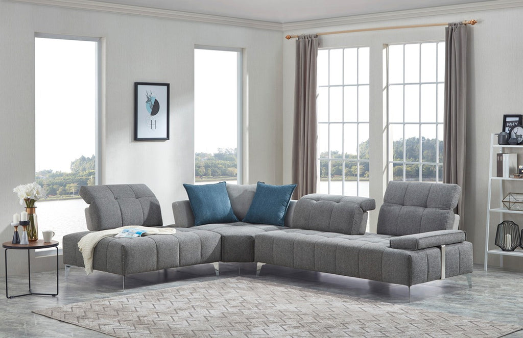 Natasha Tufted Fabric Sectional with Adjustable Backrest