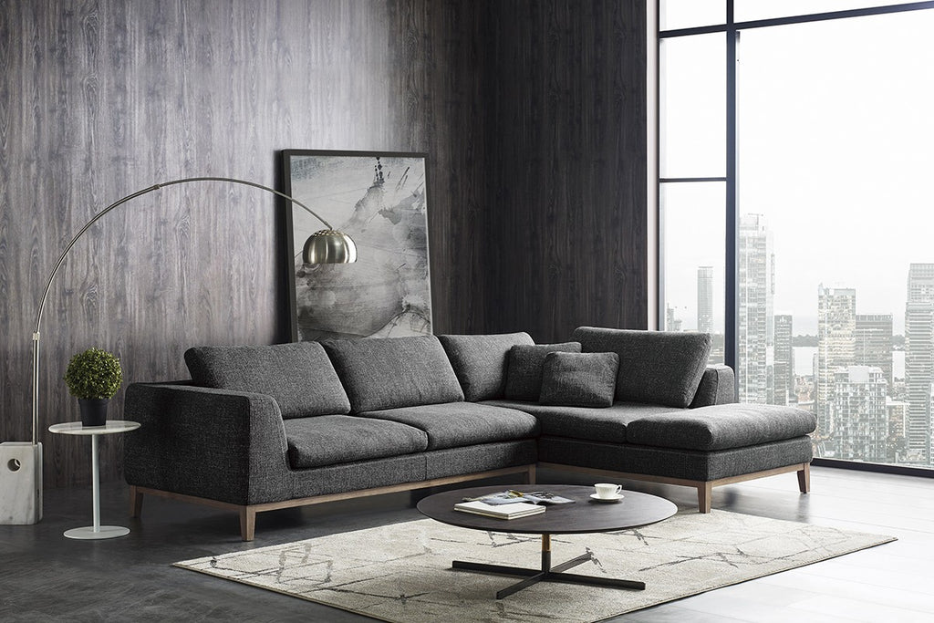 Hicks Dark Grey Fabric Sectional with Exposed Wood Frame