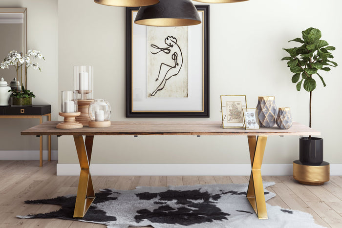 Rustic Ash Wood Top Dining Table with Gold Base