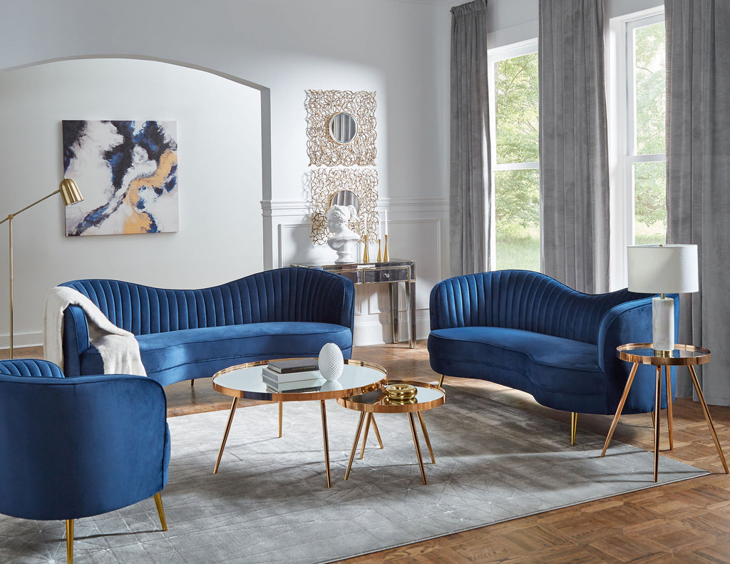 Sophie Blue Velvet Living Room Collection