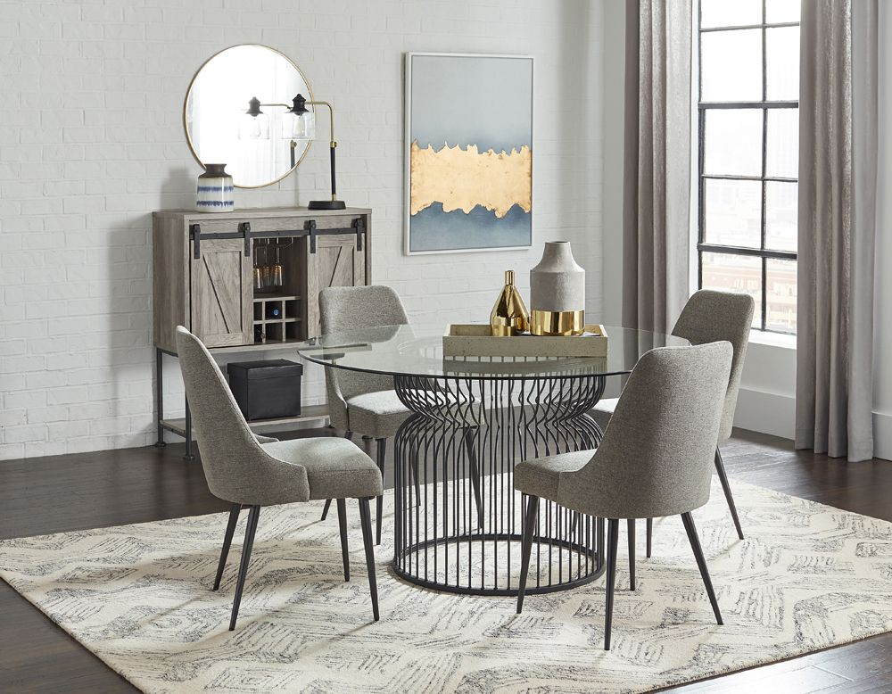 Gunmetal Cage Style Dining Room Collection