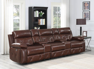 Charles Power Reclining Leather Theater Seating Sectional