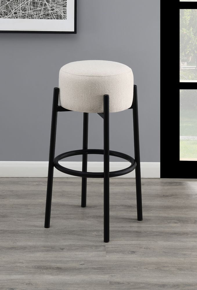 White Round Backless Stool in Counter or Bar Height
