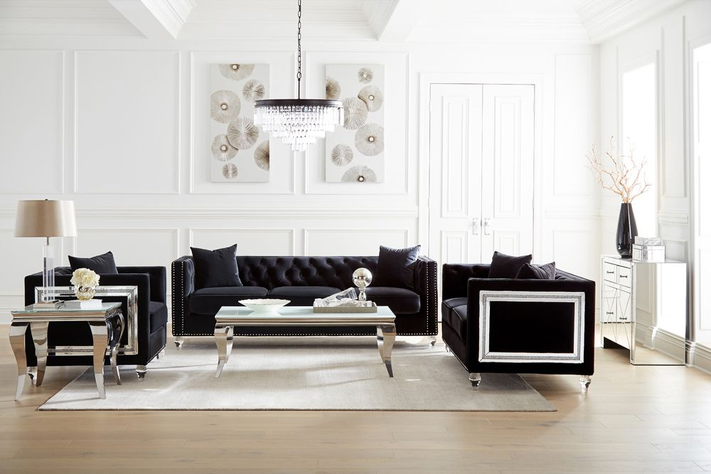 Dakota Black Velvet Living Room Collection