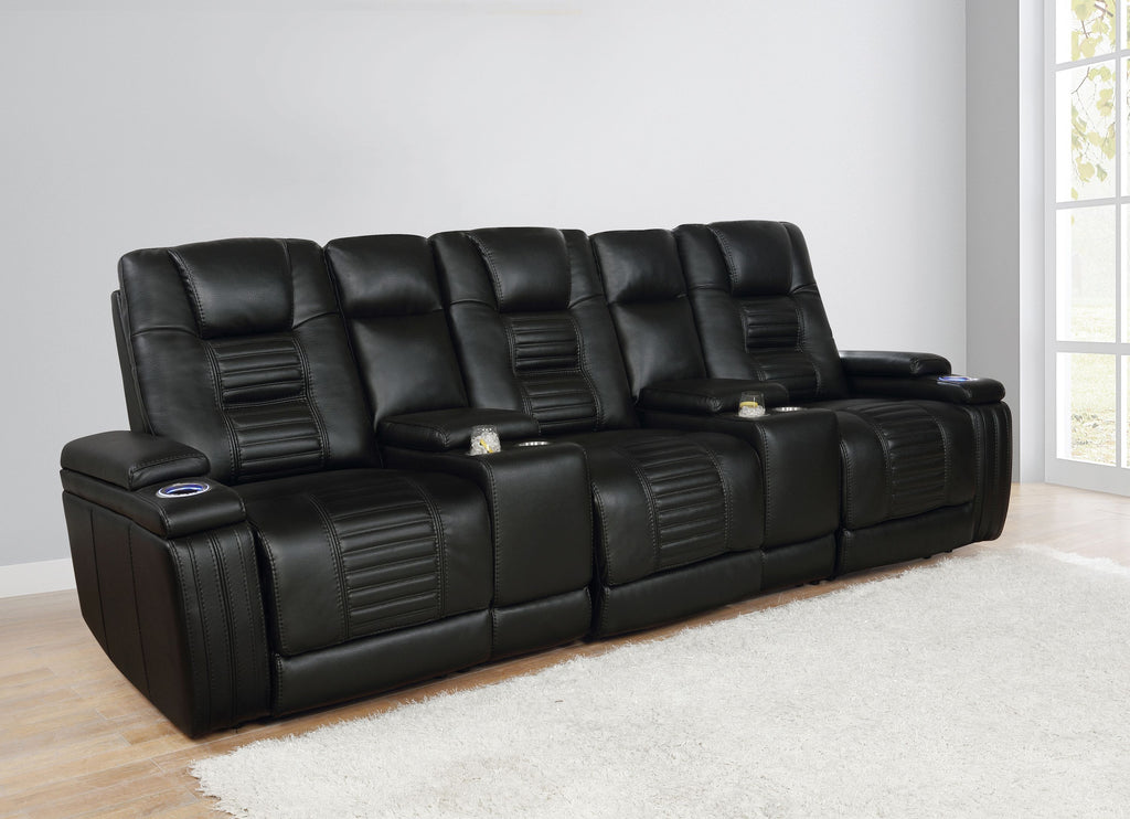 Zayn Black 3-Seater Theater Seating