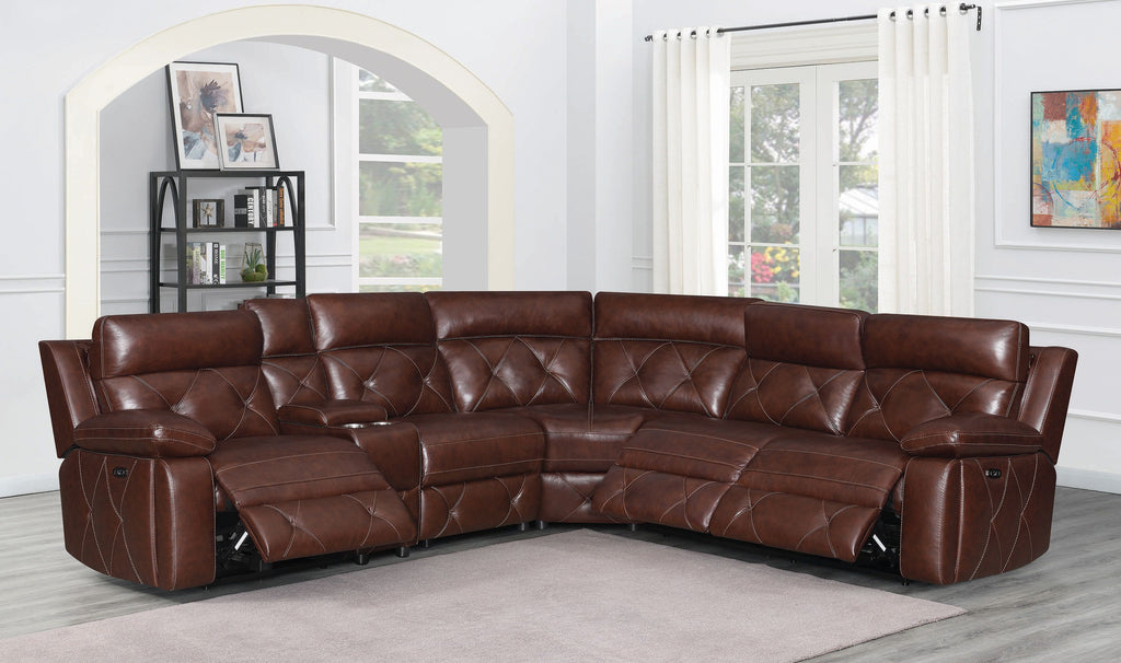 Charles Power Reclining Leather Sectional