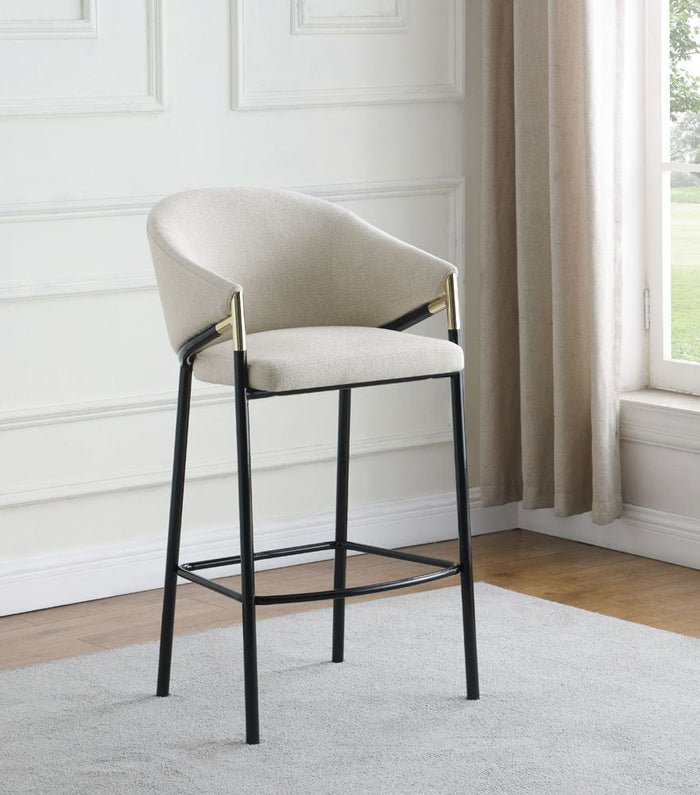 Beige Fabric Stool with Black Metal in Counter or Bar Height