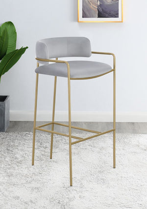 Grey Velvet Stool with Gold Metal in Counter or Bar Height