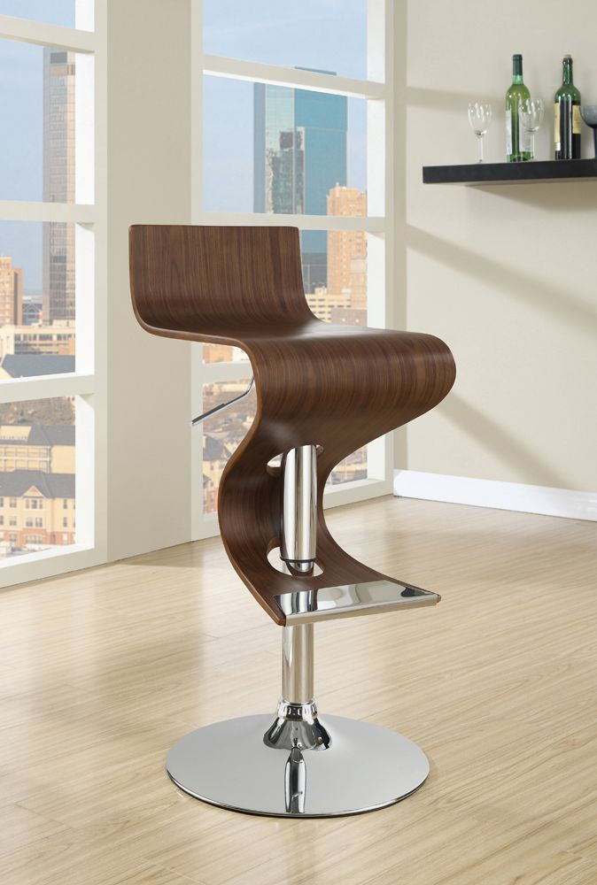 Walnut Wave-Like Barstool
