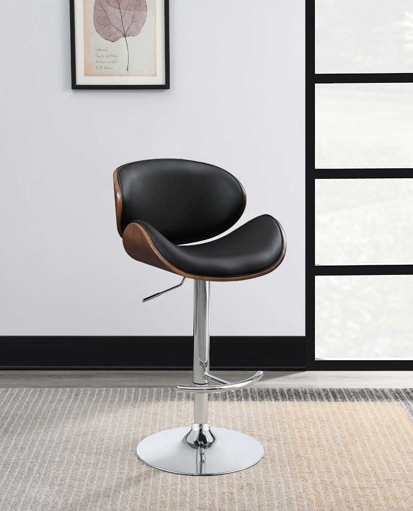 Exposed Wood Adjustable Barstool in Black or Ecru